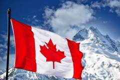 Canada Flag and Mountain